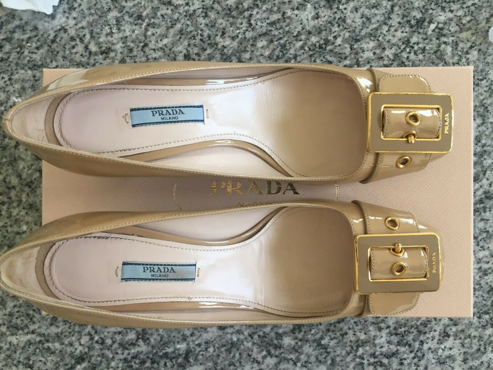 Prada shoes Beige Patent leather leather leather 8 1 2 US, French 38 1  2 worn twice aedc9d