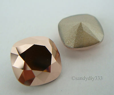 2x SWAROVSKI 4470 Rose Gold CRYSTAL 12mm SQUARE CABOCHON FANCY STONE (Foiled)