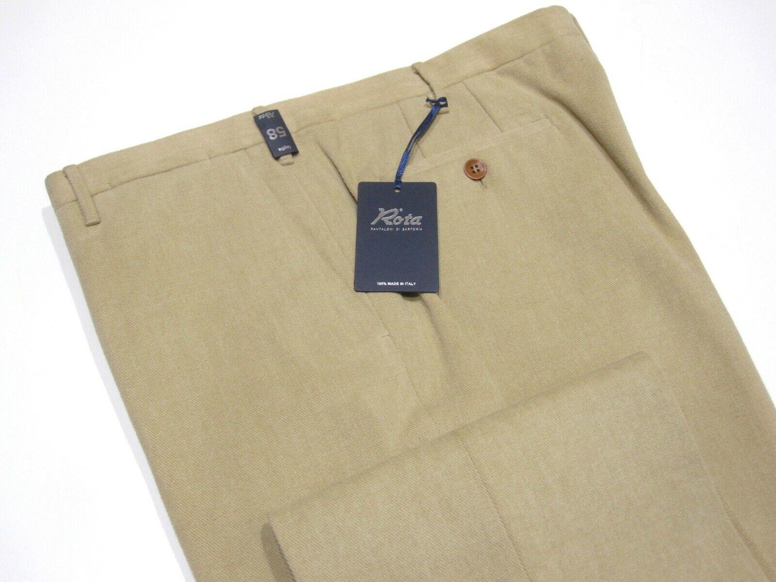 BNWT ROTA Pantaloni Tan Brushed Brushed Brushed Cotton Twill Flat Front Pants Trousers Dimensione 58 804eca