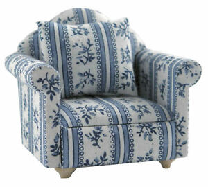 Details about White & Blue Flower Patterned Sofa Chair, Dolls House Miniatures, Furniture