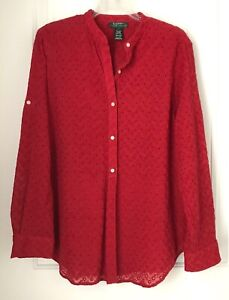 RALPH-LAUREN-Womens-Large-Red-Cotton-Eyelet-Collarless-Blouse-Long-Sleeve-Shirt