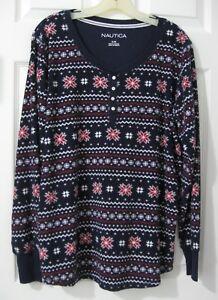 Nautica-Nordic-Snowflake-Sz-XL-Soft-Casual-Top-Shirt-Holiday-Navy-Burgundy