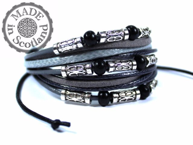 GRAY LEATHER BEADED TIBETAN SILVER SURFER BRACELET BOHO CHIC WRIST WRAP CUFF
