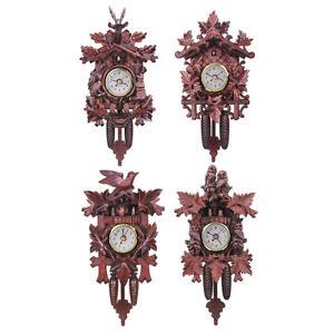 Vintage Cuckoo Clock Forest Quartz Swing Wall Alarm Handmade Room Decorations
