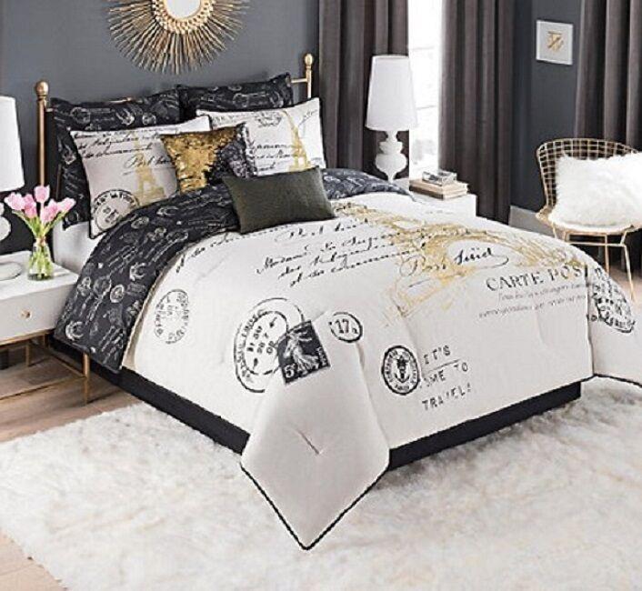 California King Bedding Paris Comforter Set Bedspread French Decor White gold 8p