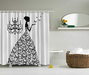 Black White Butterfly Goddess Woman Fabric Shower Curtain Digital