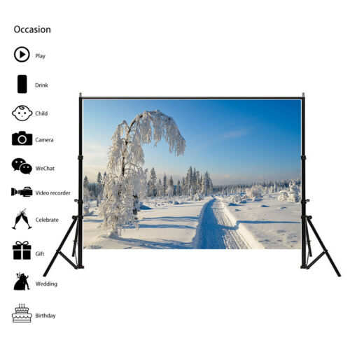 Photo Background Cloth Wall Backdrop Prints Decor Nature Winter Snow EHA1 HA1