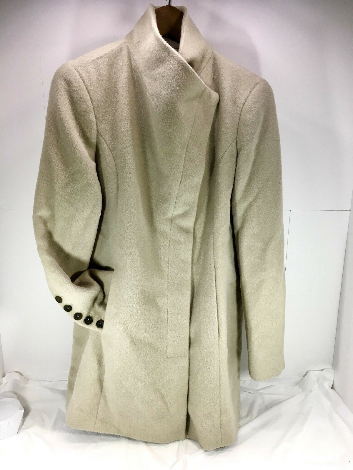 Women's Andean Alpaca & wool blend Wrapped front Trench Coat Beige Sz 6 Small