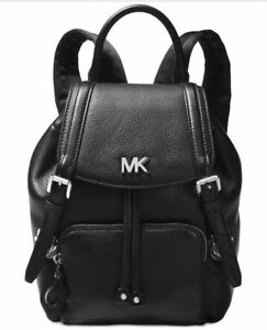 b97474802886 Image is loading MICHAEL-Kors-BEACON-Leather-Black-Silver-Backpack