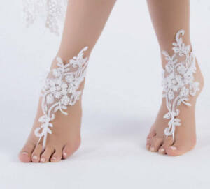 cafedc52b77 Image is loading Wedding-Foot-Chain-White-Barefoot-Sandals-Beach-Anklet-