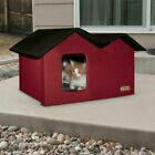Extra Wide Indoor Outdoor Heated Kitty Cat House Red Warm Cats Winter Porch Home