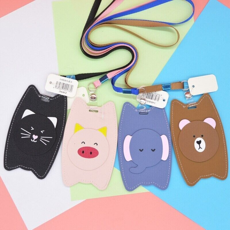 Bear Elephant Pig Cat ID Card Holder w/ Detachable Lanyard Cute For School UK