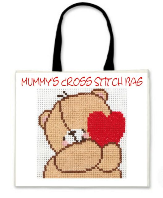 Personalised Cross Stitch Bag - Black Handles - Ideal GIFT for Christmas B'day