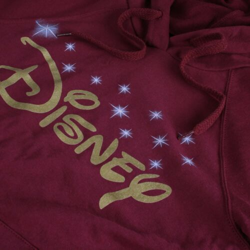 DISNEY-Disney logo-Donna Pullover Con Cappuccio-Borgogna