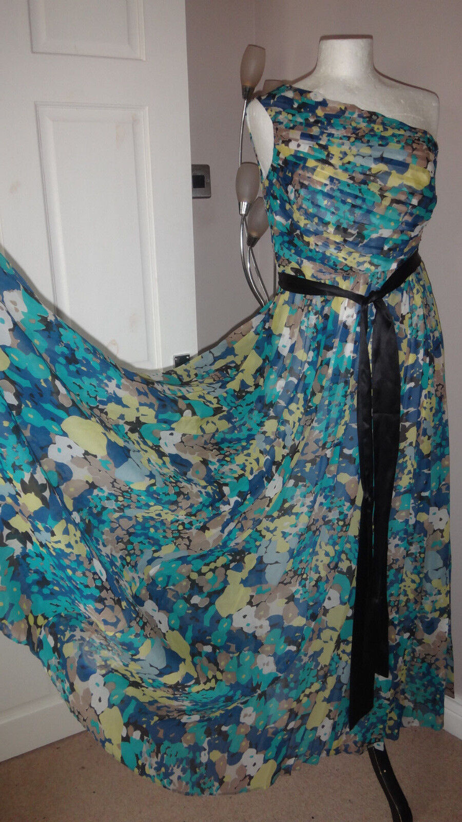 Fenn Wright Manson bluee One Shoulder 100% 100% 100% Silk Stunning Dress Sz 8 RRP 346fbb