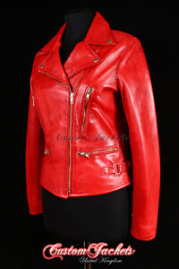 Slim Vixen Jacket Ladies Washed Fit Red Cool Leather Designer Biker Lambskin dXwarqvw
