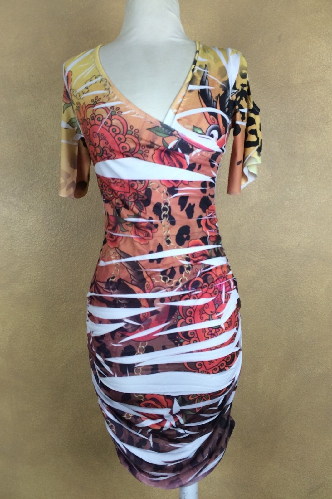 Windsor Wiggle Dress Ruched Sides Tattoo Print Size Junior S