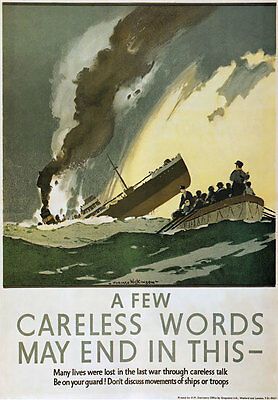 WB21 Vintage WW2 Use A Handkerchief British WWII War Health Poster A2//A3