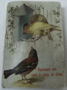 RARE, ANTIQUE POSTCARD WHICH IMITATES BIRDSONG WHEN SQUEEZED ! - WORKING, POSTED