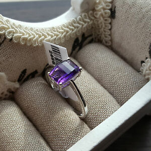 Beautiful AA Lusaka Amethyst Solitaire Ring in Platinum over Sterling Silver - Portsmouth, United Kingdom - Returns accepted up to 14 days for refund, buyer pays return postage, we accept returns up to 21 days from the 25 December.[holiday period only]. Returns must have tags intact, there will be a twenty percent deduction if tags  - Portsmouth, United Kingdom