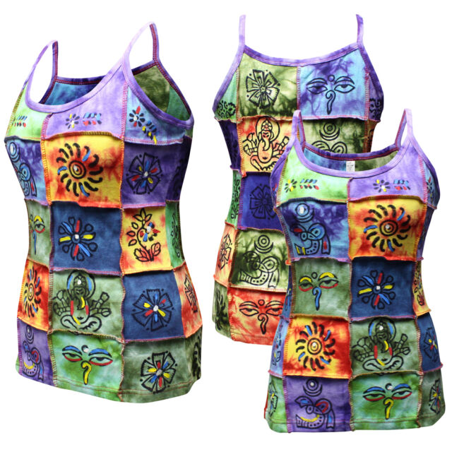 Out Stitched Ladies Patchwork Hippie Tank Tops Colorful Festival Sleeveless Vest