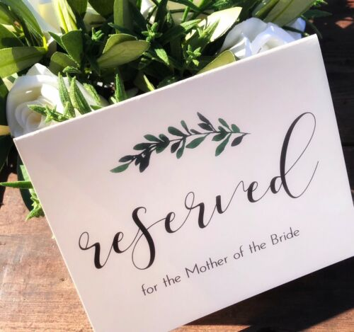 Parties etc Botanical Personalised Reserved Signs white//ivory for weddings