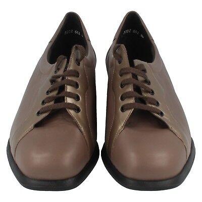 Mujer Equity color topo / beige RR. Zapatos de piel con cordones GB 4.5 4e Fit