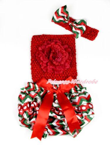 Navidad Bebé Niña A Crochet Tubo Superior Rojo Blanco Verde A Rayas Bloomer Pantie Set nb-3y