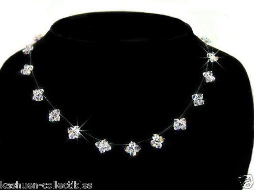 Floating Bridal Bling STAR made with Swarovski Crystal Sterling Silver Necklace