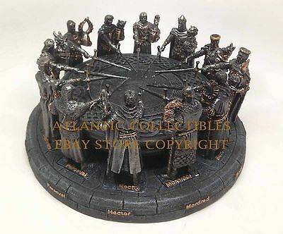 KING ARTHUR AND MEDIEVAL KNIGHTS OF THE ROUND TABLE FIGURINE STATUE