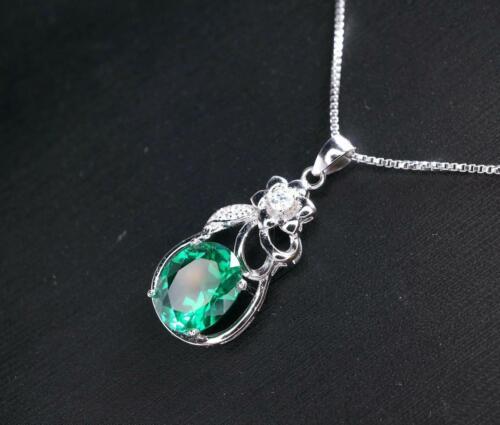 Details about  /Women/'s 1.5 CT Oval Emerald /& Sim Diamond Cute Pendant 14k White Gold FN Silver