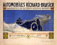 Poster Automobiles Richard Brasier Won 1904 Gordon Bennet Vintage Repro Free S/h