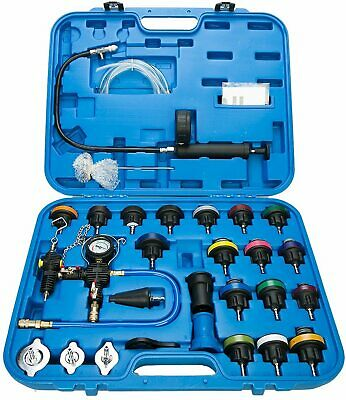A YSTOOL Radiator Pressure Tester Pneumatic Vacuum Cooling System Purge Refill Kit 28PCS Universal Automotive Water Tank Leak Test and Coolant Fill Tool Set with Adapters Gauge Case N