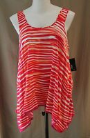 A.n.a. Woman, 0x, Bright Rose Multi Striped, Sleeveless Top, With Tags