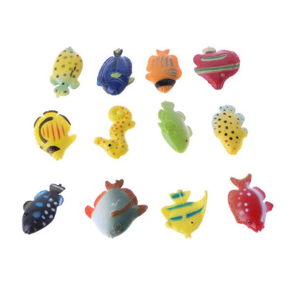 12 Pezzi Plastica Marine Animali Giocattolo Assortito Mare Pesce Statuette Superficie Lucente