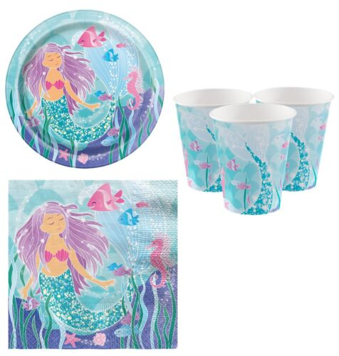 Girls Birthday Party Celebration Magical Mermaid Princess 32pc Tableware Set