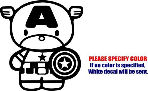 """Captain America Chibi Car Truck Bumper Window JDM Fun 6/"""" Vinyl Decal Sticker"""