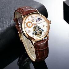 Time 100 Unisex Sun & Moon Phase Dual Time Automatic Mechanical Watch Rose Gold