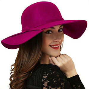0b311594 Women's Fedora Hat Wide Brim Warm Wool Floppy Hat Vintage Bowknot ...