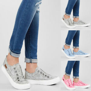Women-Sneakers-Athletic-Shoes-Casual-Walking-Pumps-Canvas-Slip-On-Plimsolls-Shoe