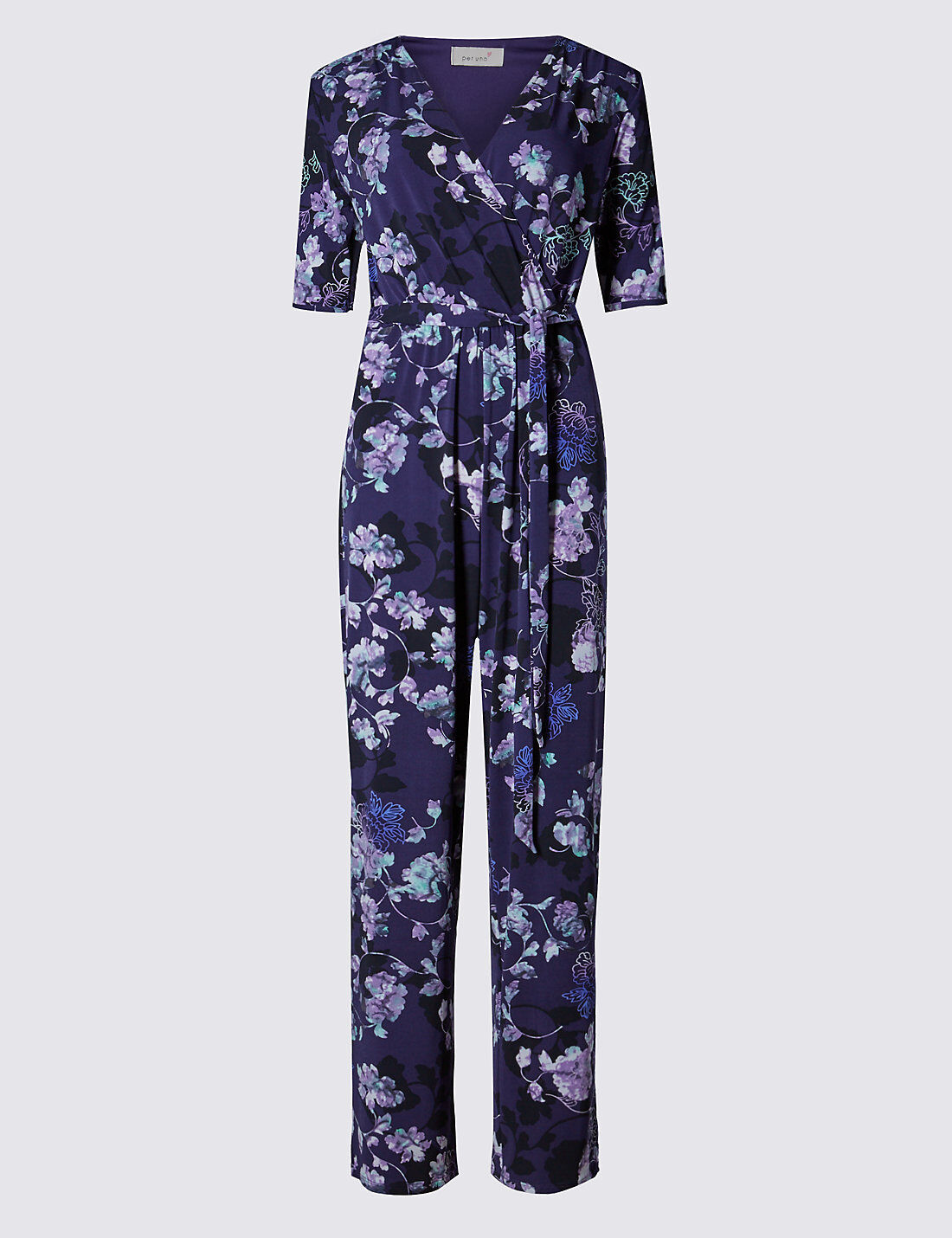 New M&S Per Una Purple Floral Belted Jumpsuit 8 10  20 reg & 8 long