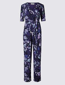 Gut New M&s Per Una Purple Floral Belted Jumpsuit 8 10 20 Reg & 8 Long Seien Sie In Geldangelegenheiten Schlau