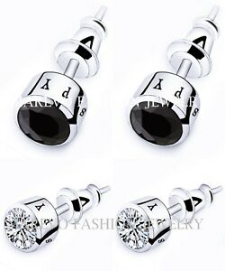 SET-OFF-2-PAIRS-MEN-STUD-EARRINGS-BLACK-AND-WHITE-AAA-CZ-STUDS-SILVER-EARRINGS