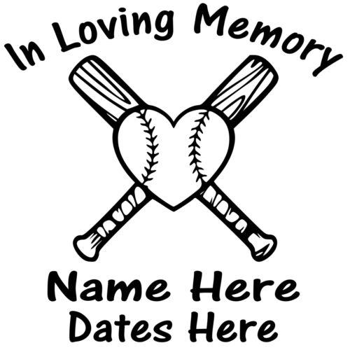 In Loving Memory Vinyl Decal Sticker Personalized Custom Car Window Baseball