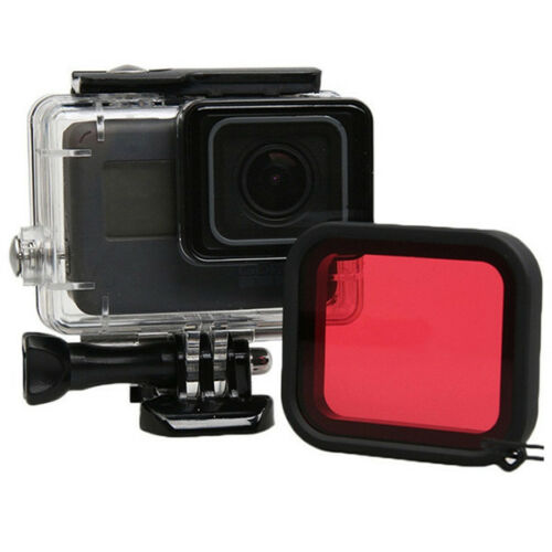 GoPro Hero 5 6 cámara bajo el agua buceo Carcasa Funda Cubierta de Filtro de Lente Roja