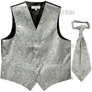 New Men/'s Vesuvio Napoli Tuxedo Vest Waistcoat Necktie prom wedding party Silver