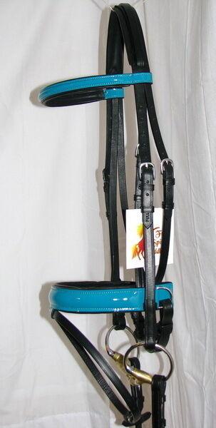 FSS PATENT Leder TURQUOISE AQUA GLOSS Bridle Comfort Padded Poll Dressage Bridle GLOSS Rein 8ae689