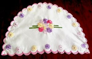 Vintage Hand Embroidered Colourful White Linen Tea Cosy Cover