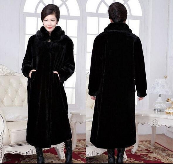 Luxury Fur Collar X-Long Winter Warm parkas Coats Womens Full Length Size S-4XL