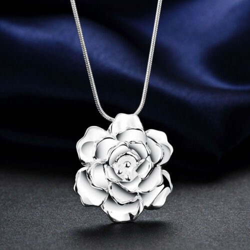 925Sterling Silver Jewelry Romantic Rose Flower Pendant Woman Necklace N773